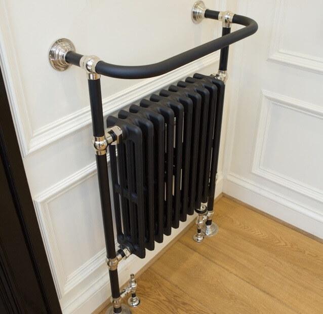 Matt black & brass heated towel rail installed in Braintree